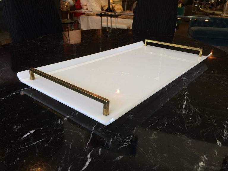 American Serving Tray in White Lucite and Brass by Charles Hollis Jones For Sale