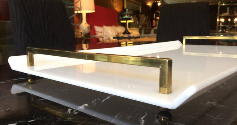 Serving Tray in White Lucite and Brass by Charles Hollis Jones In Good Condition For Sale In Los Angeles, CA