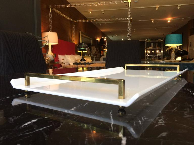 Mid-20th Century Serving Tray in White Lucite and Brass by Charles Hollis Jones For Sale