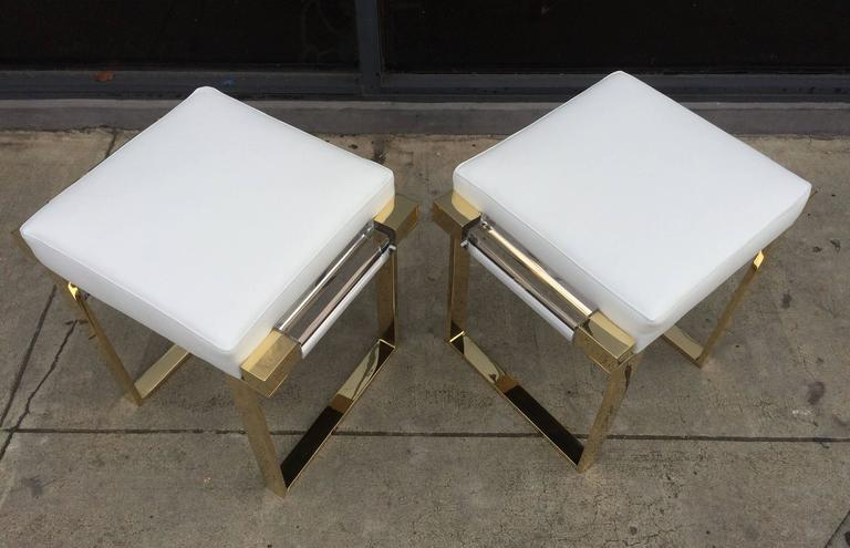 American Pair of Lucite and Brass