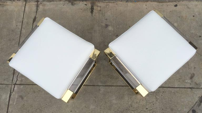 Pair of Lucite and Brass