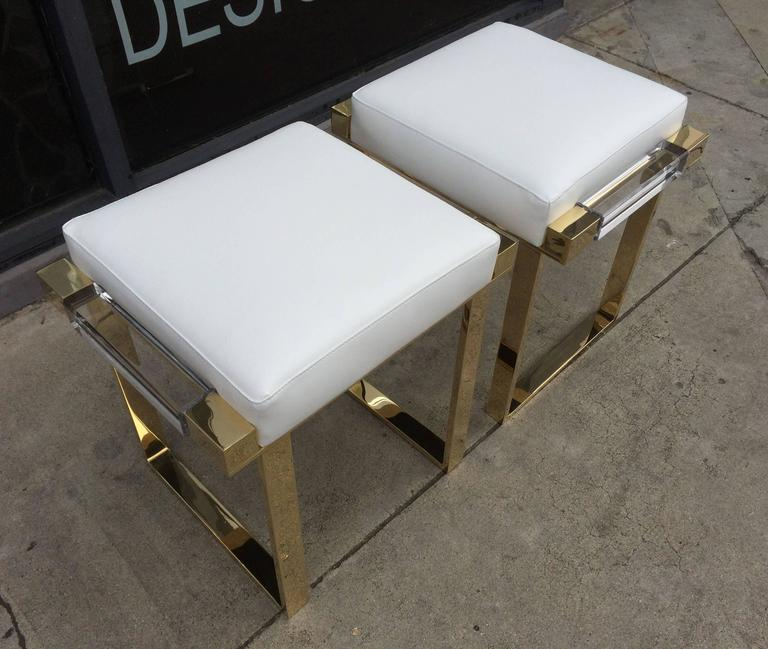 Late 20th Century Pair of Lucite and Brass