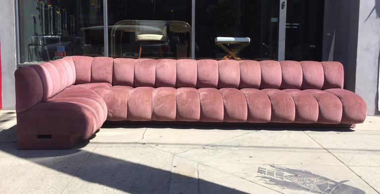 Late 20th Century Rare Steve Chase Sofa Upholstered in Boris Kroll Elan fabric, Illuminated Base