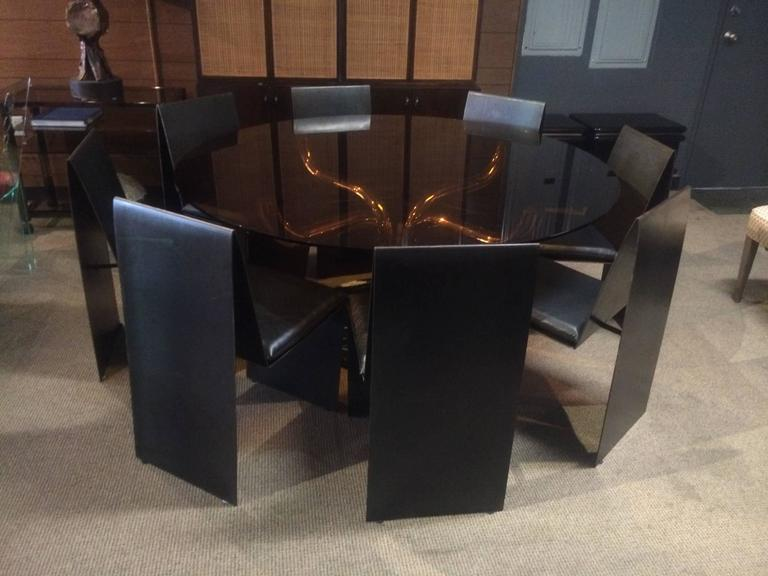 American Set of Eight Anodized Steel & Leather Dining Chairs For Sale