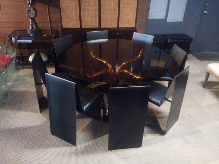 Set of Eight Anodized Steel & Leather Dining Chairs In Excellent Condition For Sale In Los Angeles, CA