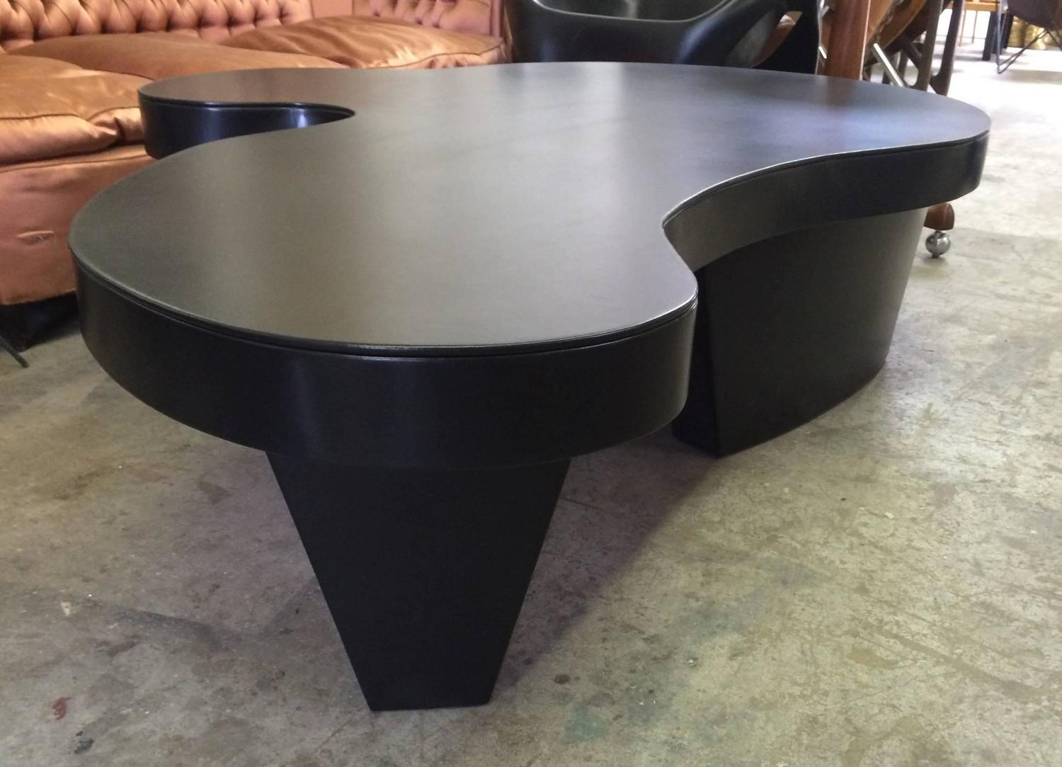 Unique Free Form Coffee Table Embossed In Black Leather