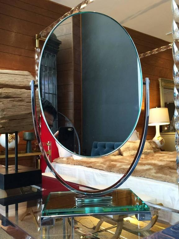 Fantastic Lucite and nickel vanity mirror designed and manufactured by Charles Hollis Jones from the 1970s.