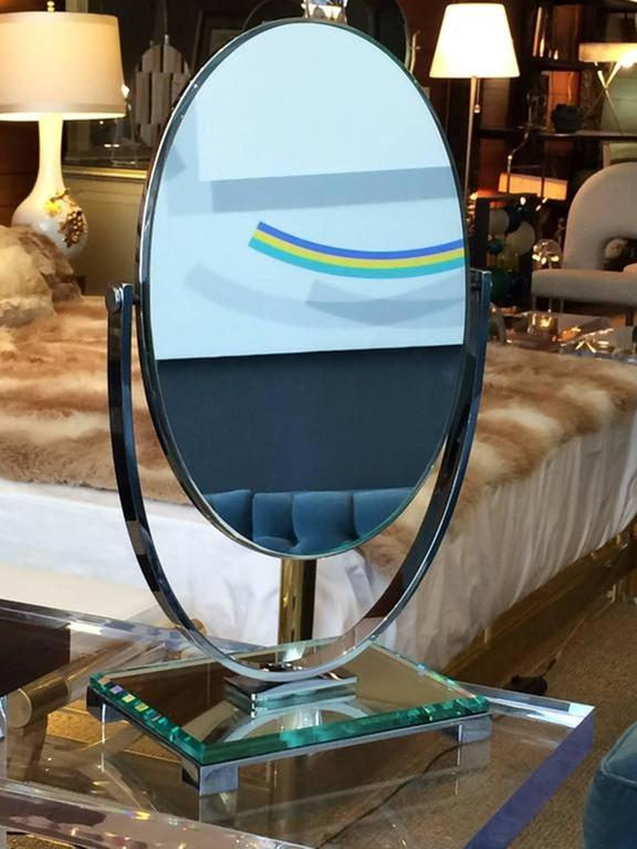 Mid-Century Modern Charles Hollis Jones Vanity Mirror in Polished Nickel and Lucite For Sale