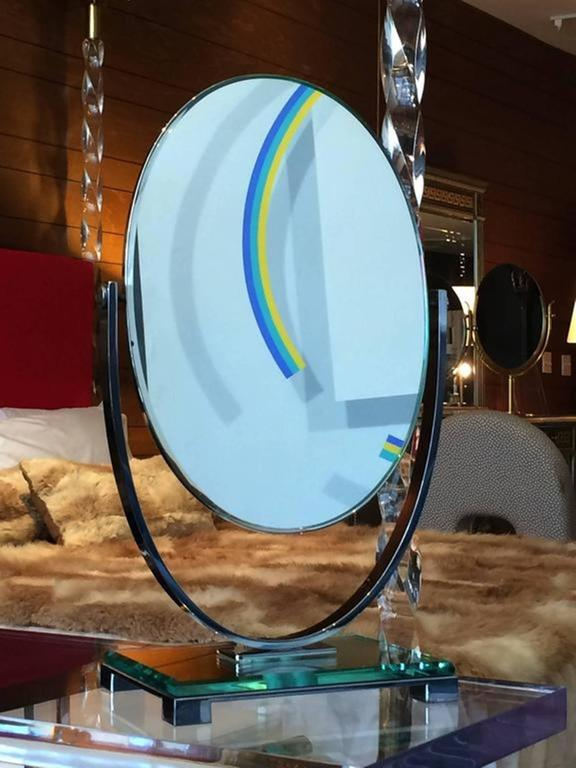 American Charles Hollis Jones Vanity Mirror in Polished Nickel and Lucite For Sale