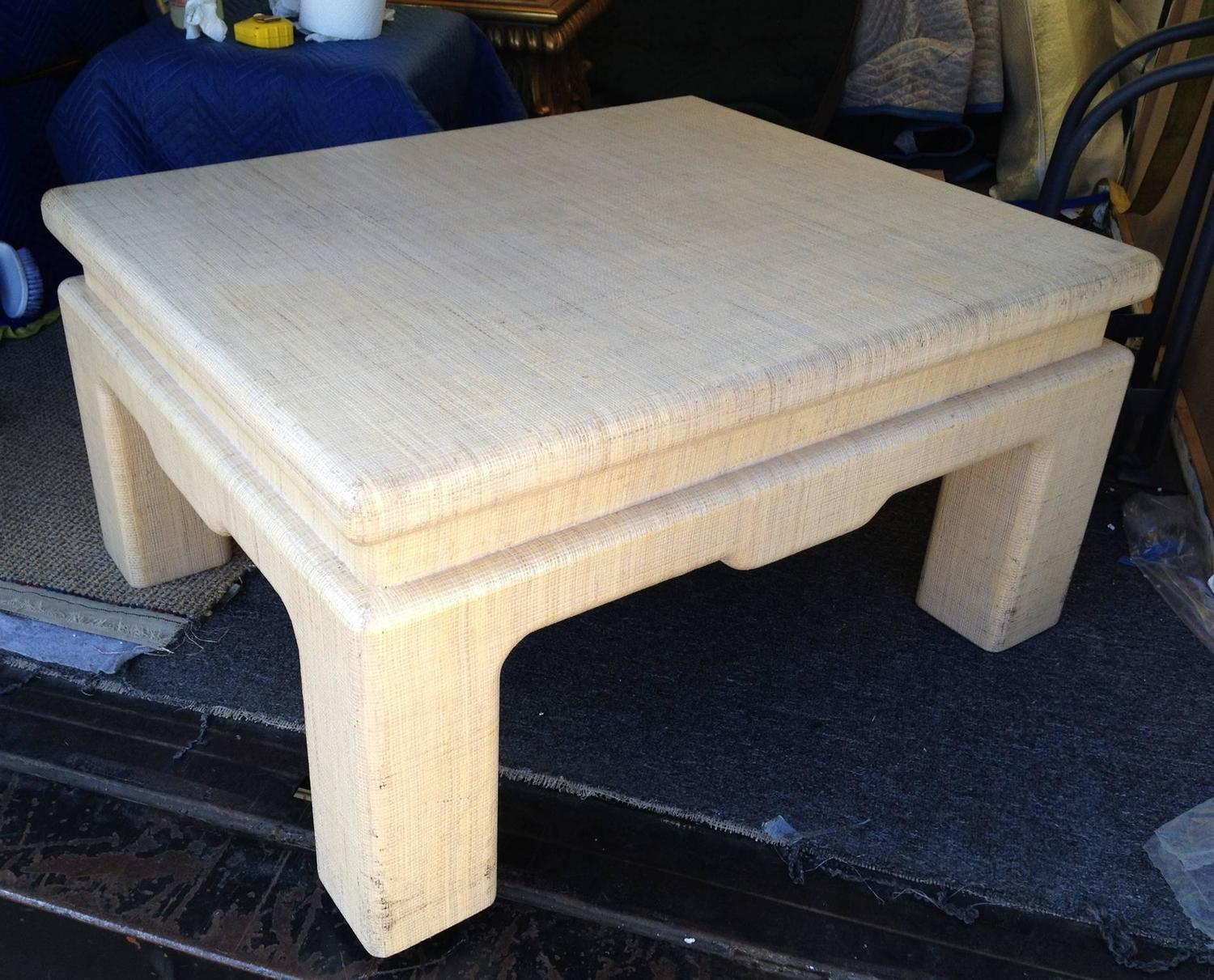 Raffia covered coffee table by harrison van horn for sale for Raffia coffee table