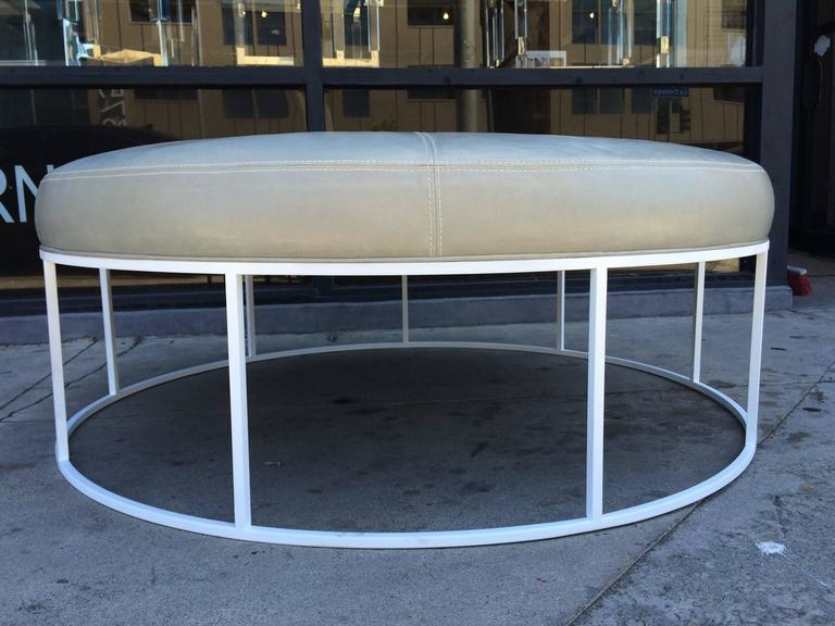 Stunning Custom Designed Round Ottoman with Solid Brass Base In Good Condition For Sale In Los Angeles, CA