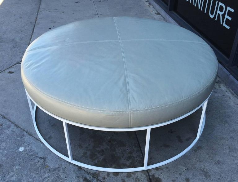 Contemporary Stunning Custom Designed Round Ottoman with Solid Brass Base For Sale