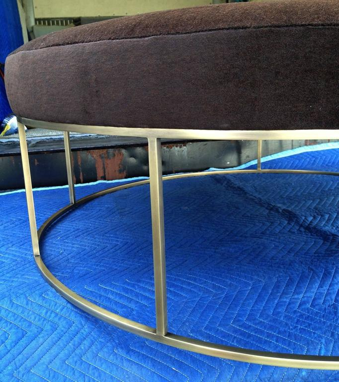 Modern Stunning Custom Designed Round Ottoman with Solid Brass Base For Sale