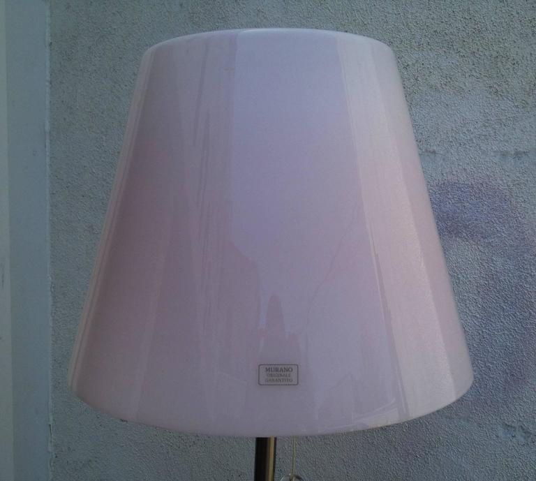 italian floor lamp with a pink murano glass shade for sale. Black Bedroom Furniture Sets. Home Design Ideas