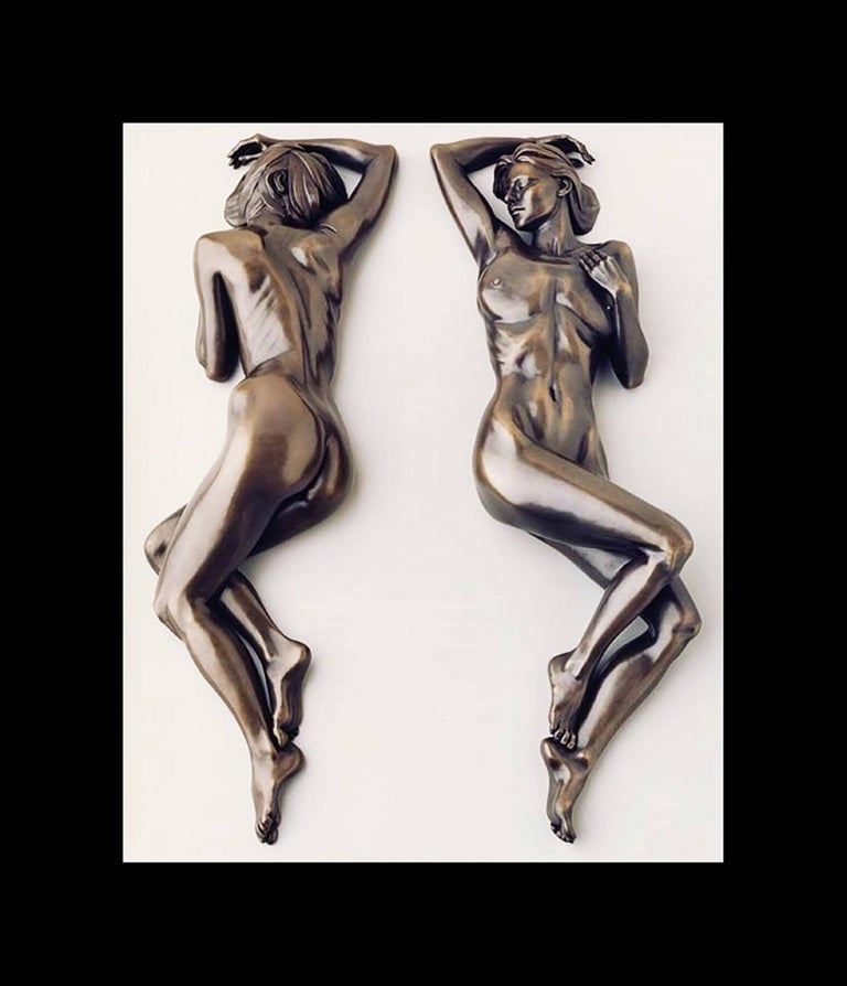 Diptych bronze sculpture by the Southern California sculpture Tanya Ragir. The sculpture is a limited edition of nine and this set is #5/9 executed in bronze and it comes signed, dated and numbered by the artist.  Measurements: 6