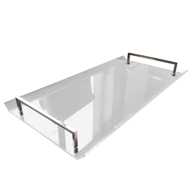 Serving Tray in Lucite and Polished Nickel by Charles Hollis Jones