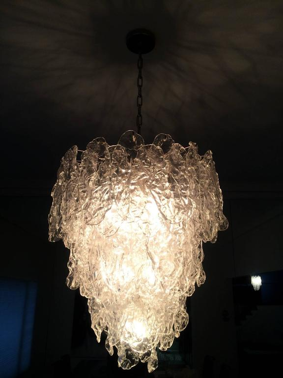 Stunning 1970s Murano glass chandelier designed by Carlo Nason and manufactured by Mazzega.