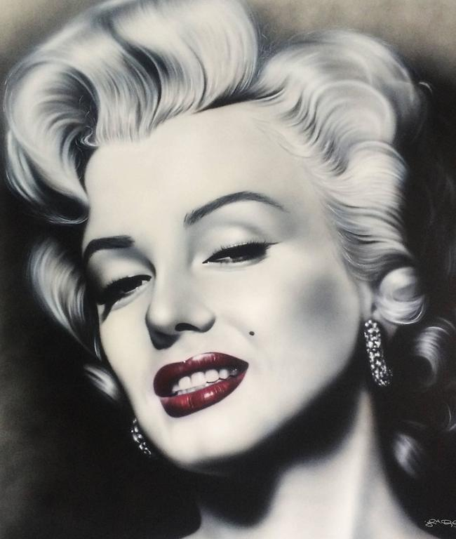 Large Oil on Canvas Marilyn Monroe Painting, Signed and Dated For ...