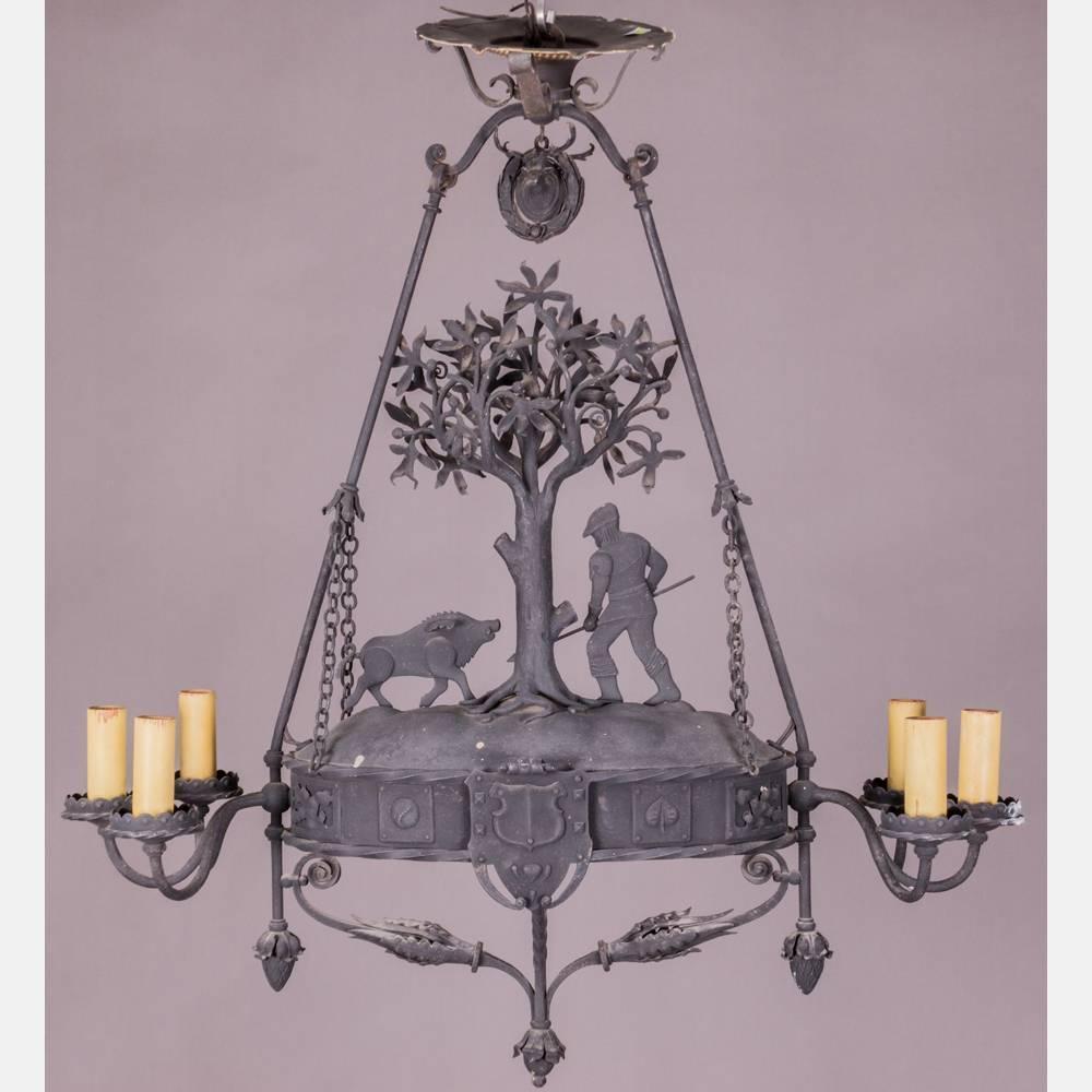 Black Forest Style Six Light Figural Chandelier For Sale