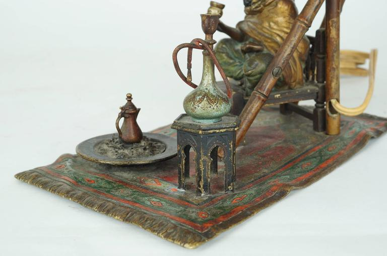 Bronze Bergman Lamp of a Seated Man on Chair Having Coffee For Sale 1