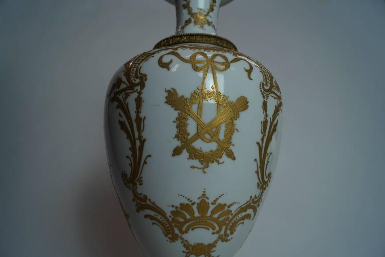 19th Century Austrian Bronze-Mounted Royal Vienna Hand-Painted Vase For Sale 2