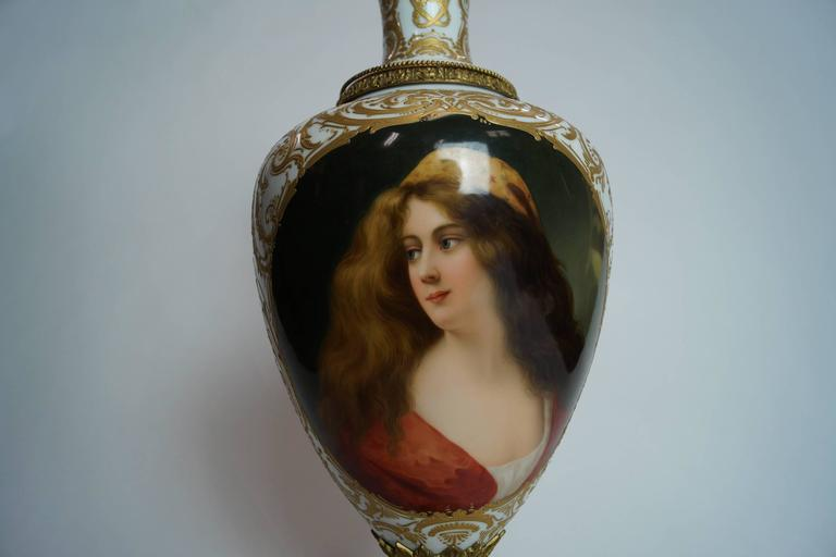 19th Century Austrian Bronze-Mounted Royal Vienna Hand-Painted Vase For Sale 1
