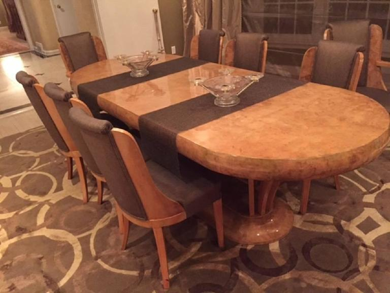 Art Deco Burl Walnut Dinning Room Set Consisting of Table and
