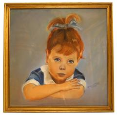 Oil on Canvas Painting of a Little Girl Signed Mary lou Fiedler, 1956