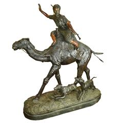 Massive Patinated Bronze Figure of an a Hunter on Camel with Dogs after P J Mene