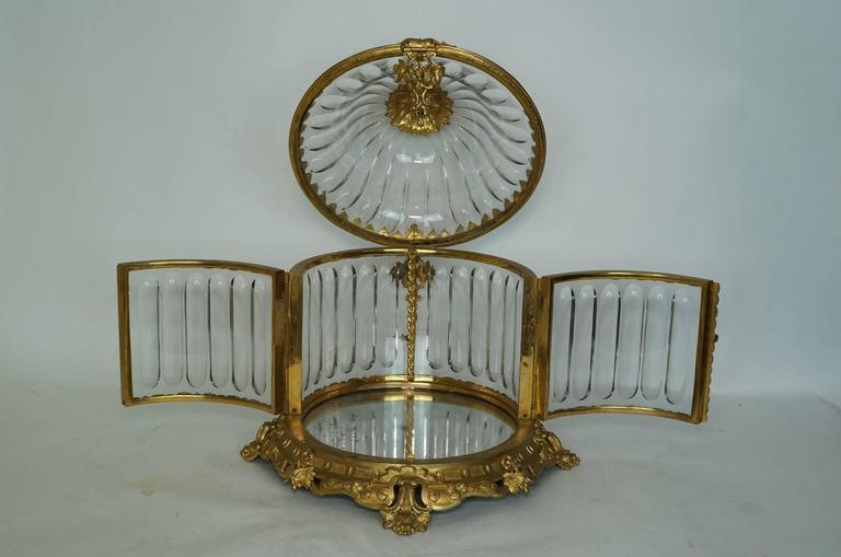 French Baccarat Bronze-Mounted Red to Clear Tantalus Set For Sale