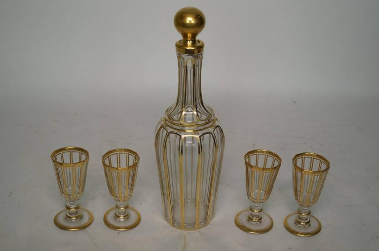 Baccarat Bronze-Mounted Red to Clear Tantalus Set For Sale 3