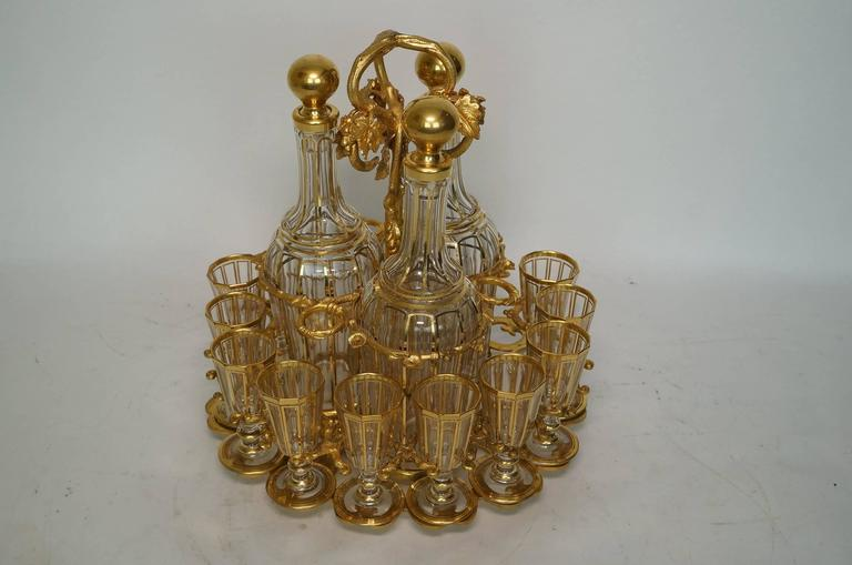 Baccarat Bronze-Mounted Red to Clear Tantalus Set For Sale 2