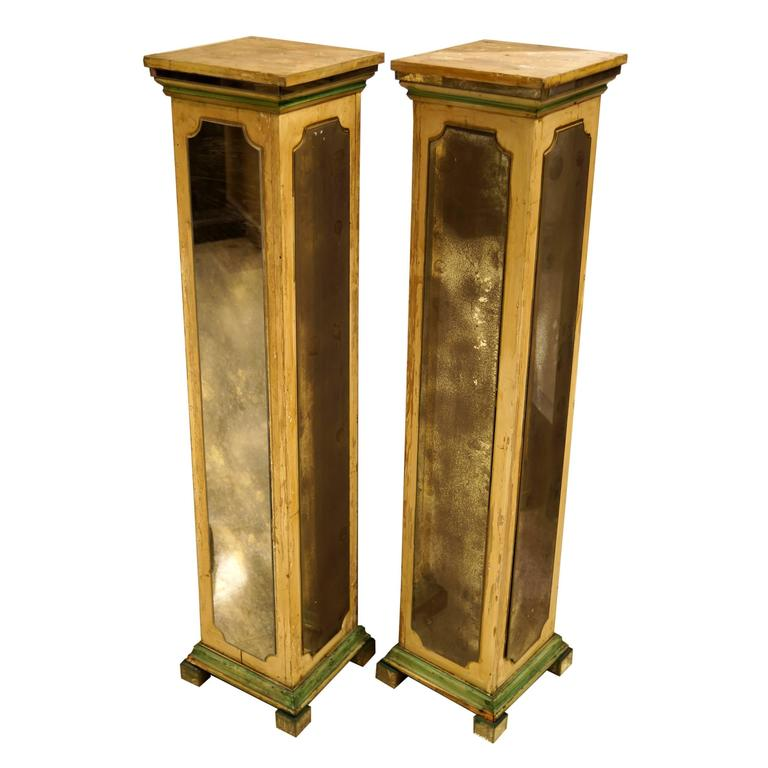 Exquisite Pair of Mirrored Pedestal Stands in Square Form Attributed to Jansen