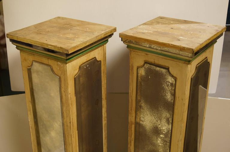 Exquisite Pair of Mirrored Pedestal Stands in Square Form Attributed to Jansen 3