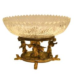 French Egyptian Revival Gilt Bronze and Crystal Figural Centerpiece