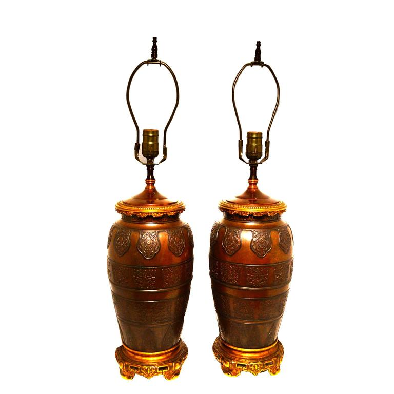 Pair of Patinated and Gilt Bronze Lamps Attributed to Caldwell & Co