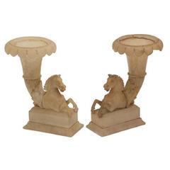 Pair of Italian Grand Tour Alabaster Cornucopia Vases