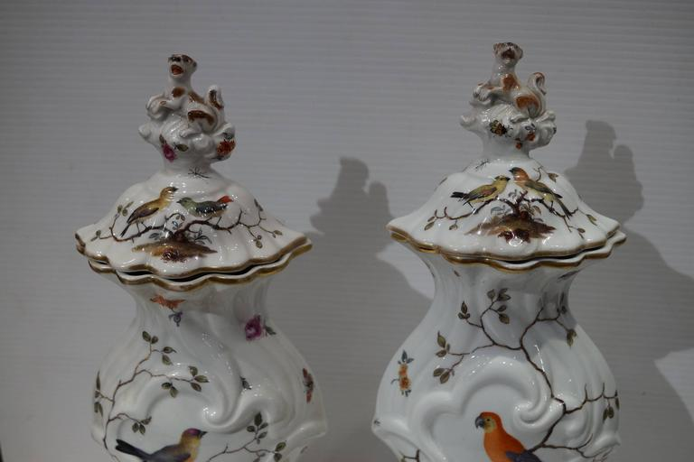 Pair of Aesthetic Painted Porcelain and Bronze Covered Urns with Bird and Flower For Sale 1