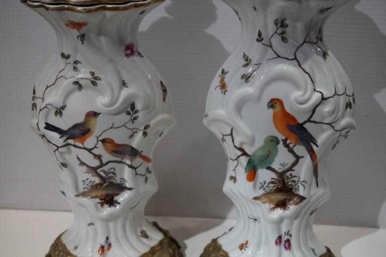 Pair of Aesthetic Painted Porcelain and Bronze Covered Urns with Bird and Flower For Sale 4