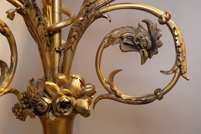 19th Century Pair of French Louis XVI Style Ormolu and Patinated Marble and Bronze Candelabra For Sale