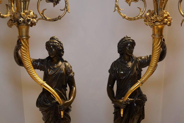 Pair of French Louis XVI Style Ormolu and Patinated Marble and Bronze Candelabra For Sale 3