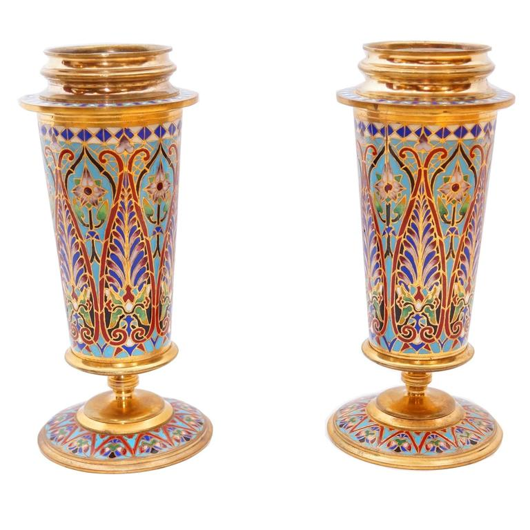 Pair of French Champlevé enamel vases