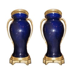 Pair of Palace Size Bronze-Mounted Cobalt Blue Sevres Style Vases