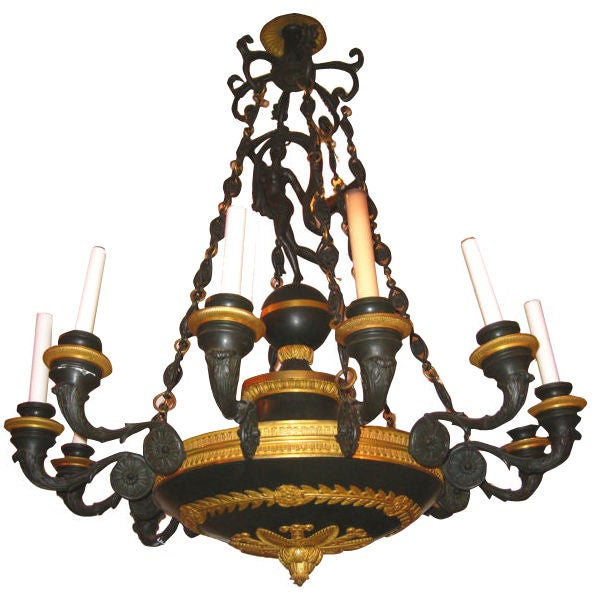 Empire Style Ormolu and Patinated Bronze Twelve-Light Chandelier