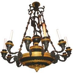 Empire Style Ormolu and Patinated Bronze Twelve-Light Chandelier