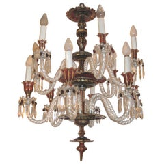 Bohemian Ruby Red Glass Chandelier