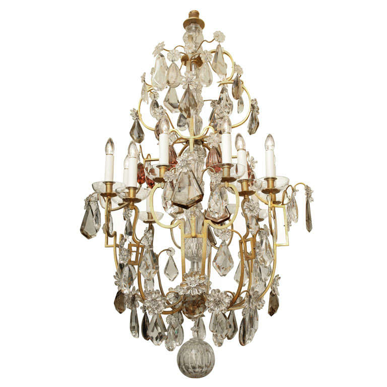 Large Twelve Light Crystal and Bronze Chandelier Attributed to Bagues