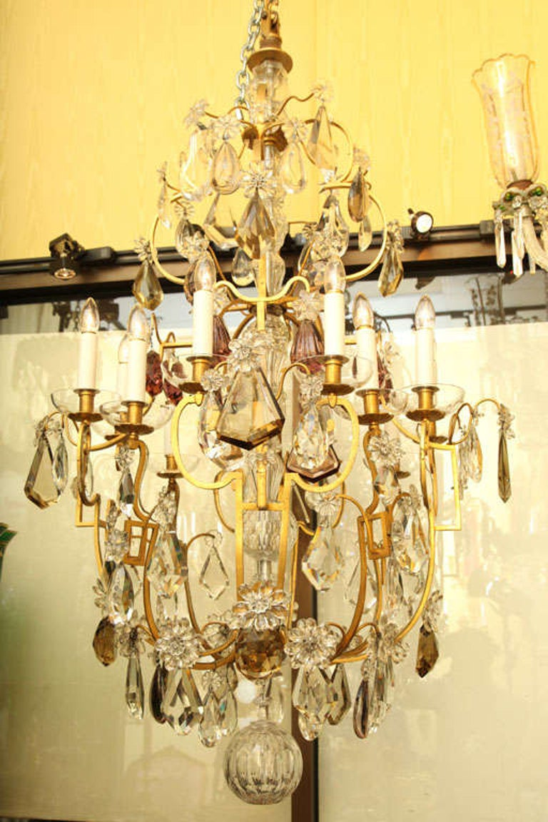 Louis XVI Large Twelve Light Crystal and Bronze Chandelier Attributed to Bagues For Sale
