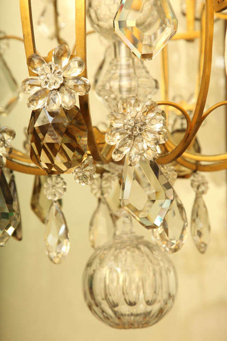 Large Twelve Light Crystal and Bronze Chandelier Attributed to Bagues In Good Condition For Sale In New York, NY