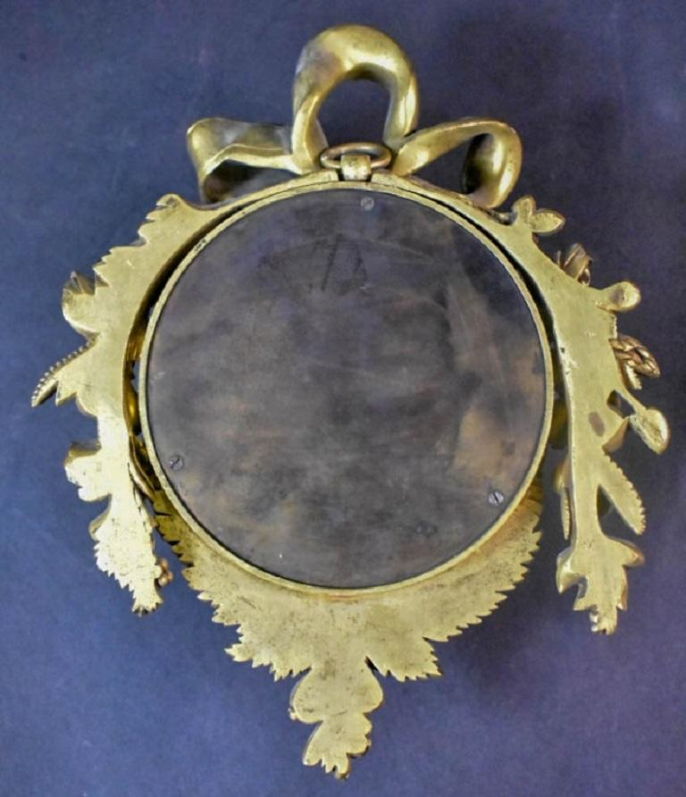 Pair of Louis XVI Style Gilt Bronze Wall Clocks and Barometer For Sale 4